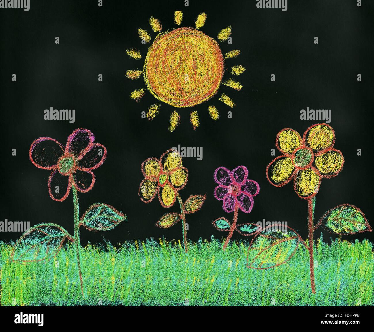 Sunshine in the Garden Chalk Drawing On Blackboard Stock Photo