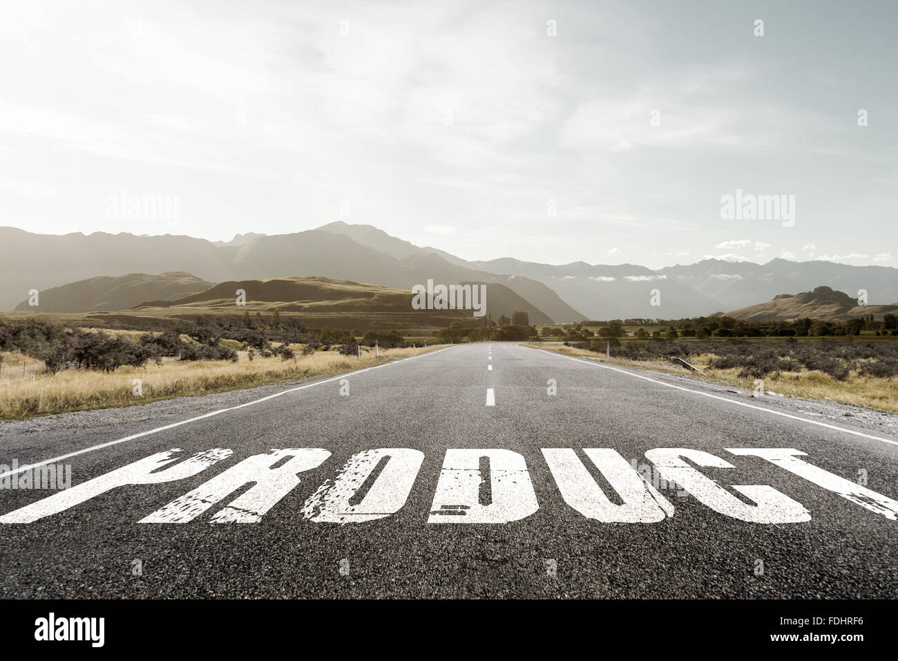 Concept image of Accounting Business Acronym PO Production Order written over road marking yellow paint line. Stock Photo