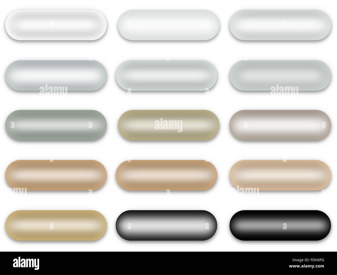 Rounded Rectangle Pearl Buttons Set Isolated on White Background - Stock Image
