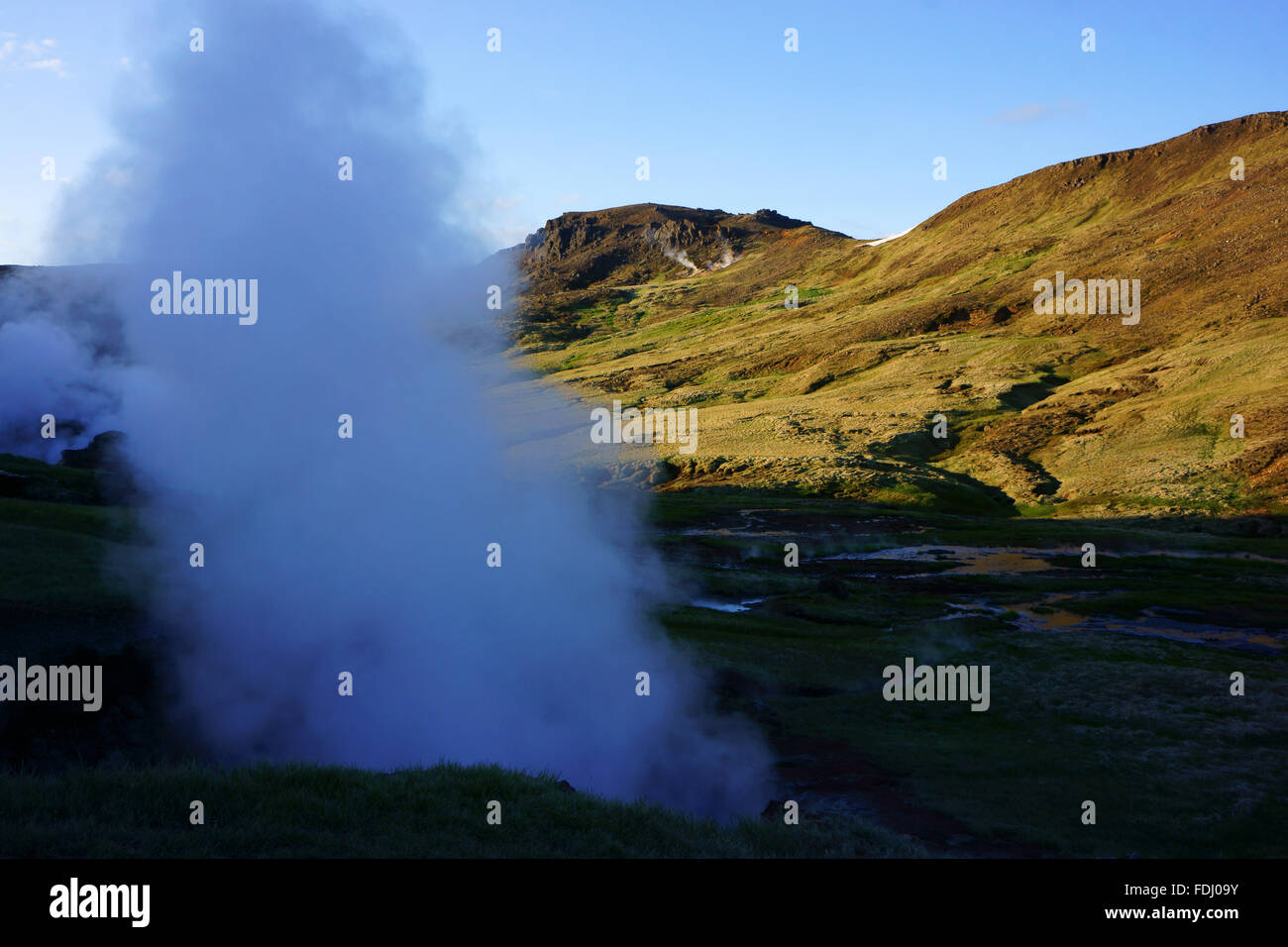 Hot Spring and steaming vent, Hengill mountains, Hveragerdi, SW Iceland - Stock Image