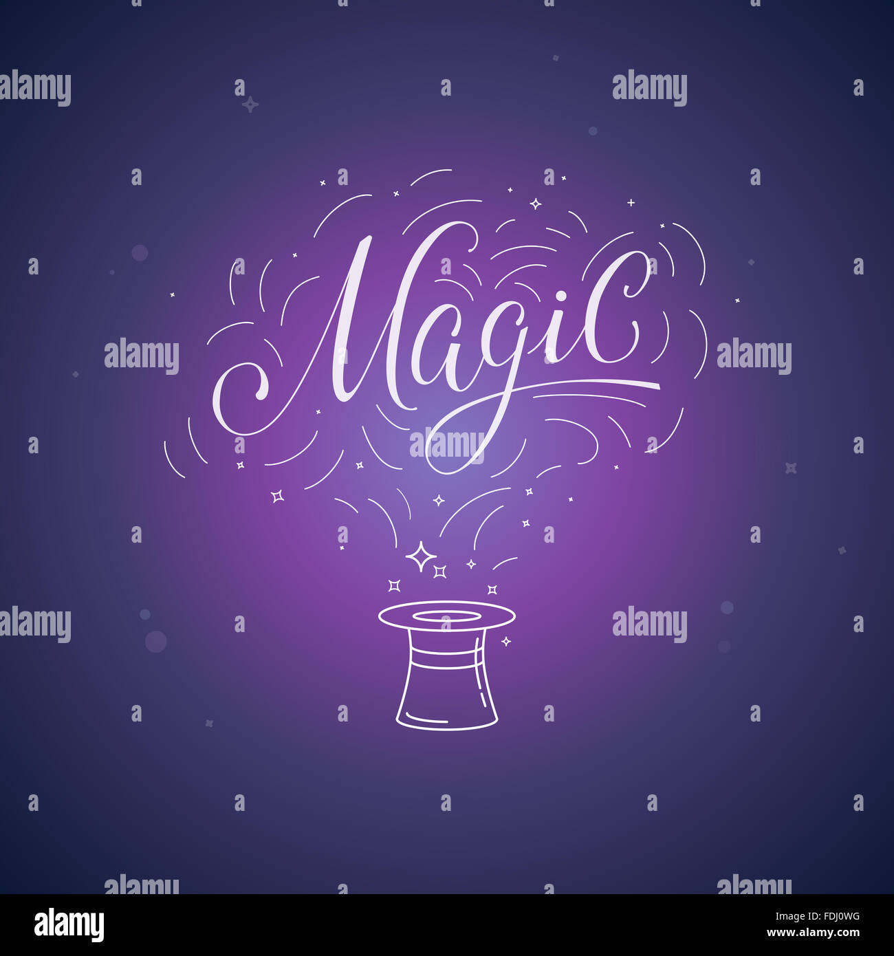 Hand-lettering magic and illustration - magic and ficus posterand concept - Stock Image