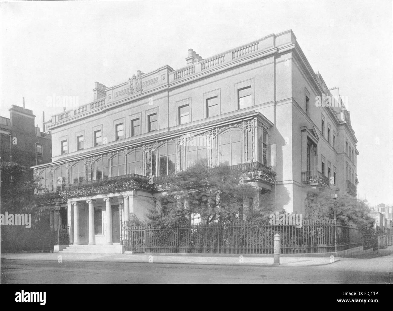 London Park Lane Dudley House Antique Print 1896 Stock Photo Alamy