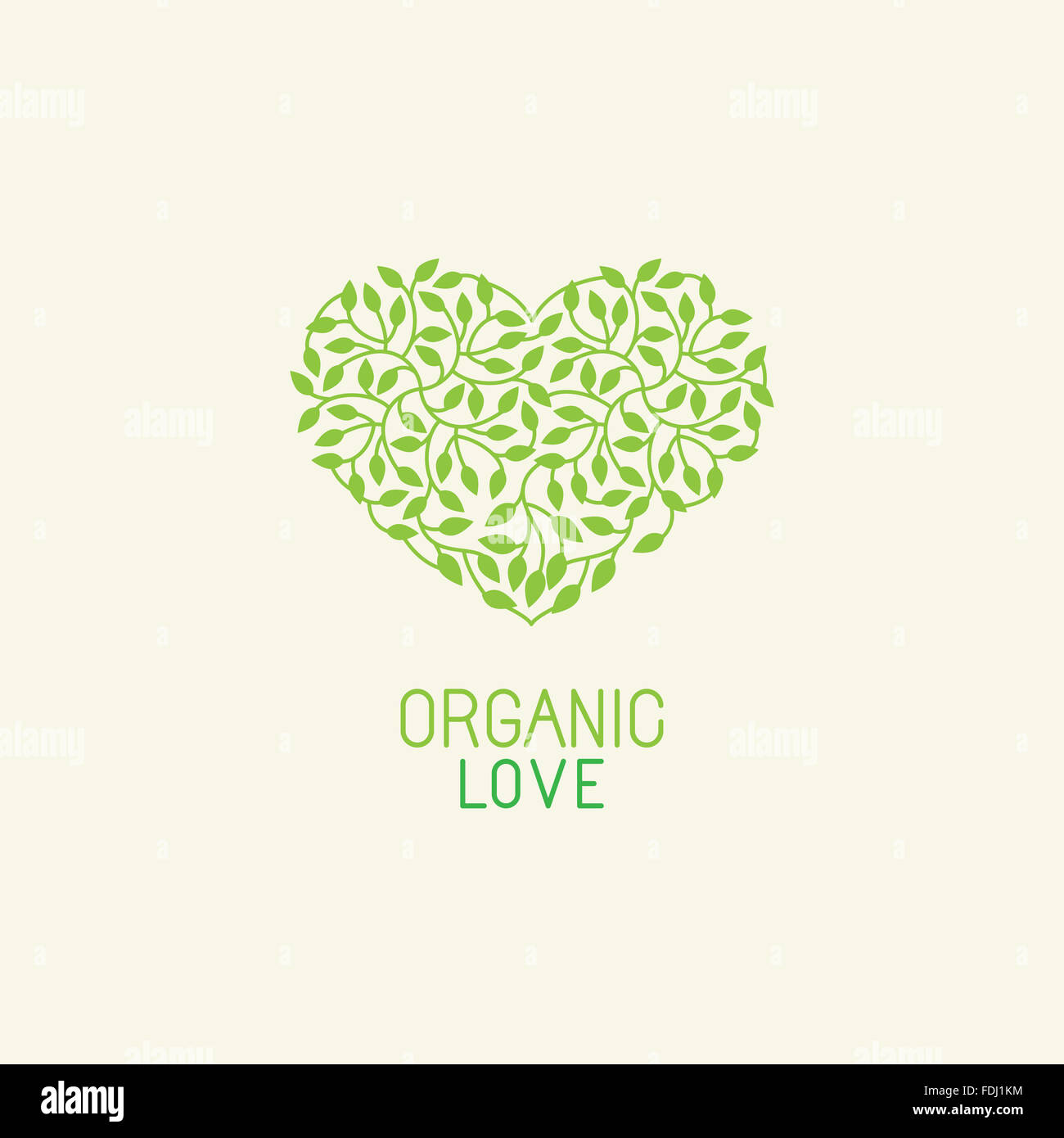 Organic and natural emblem and logo design template - green ecology concept or natural cosmetics - heart made with - Stock Image