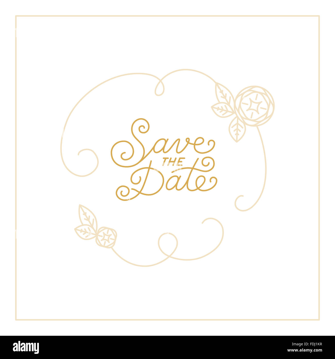 Save the date card design template with hand-lettering and text - wedding invitation design element in trendy linear - Stock Image