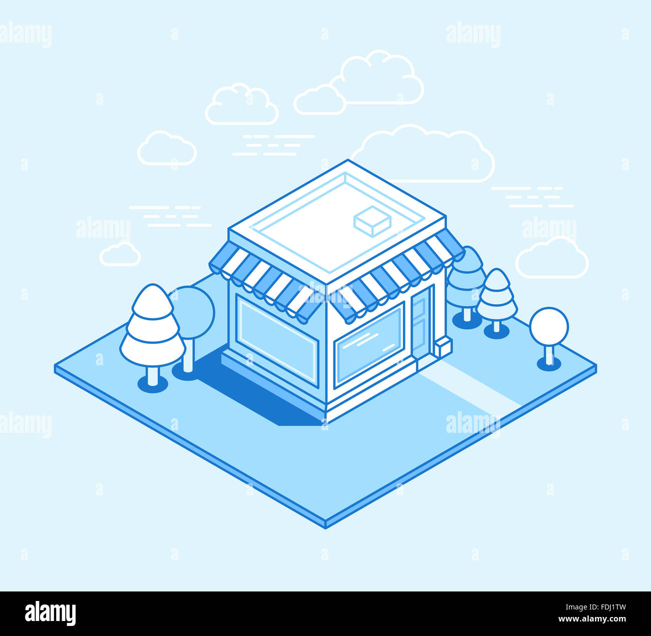 Shop building isometric illustration - online shop and store concept ...