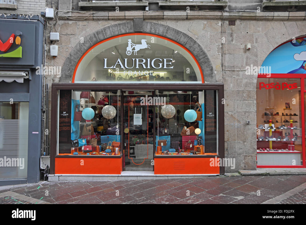 Laurige hand crafted leather goods shop, Limoges, France - Stock Image