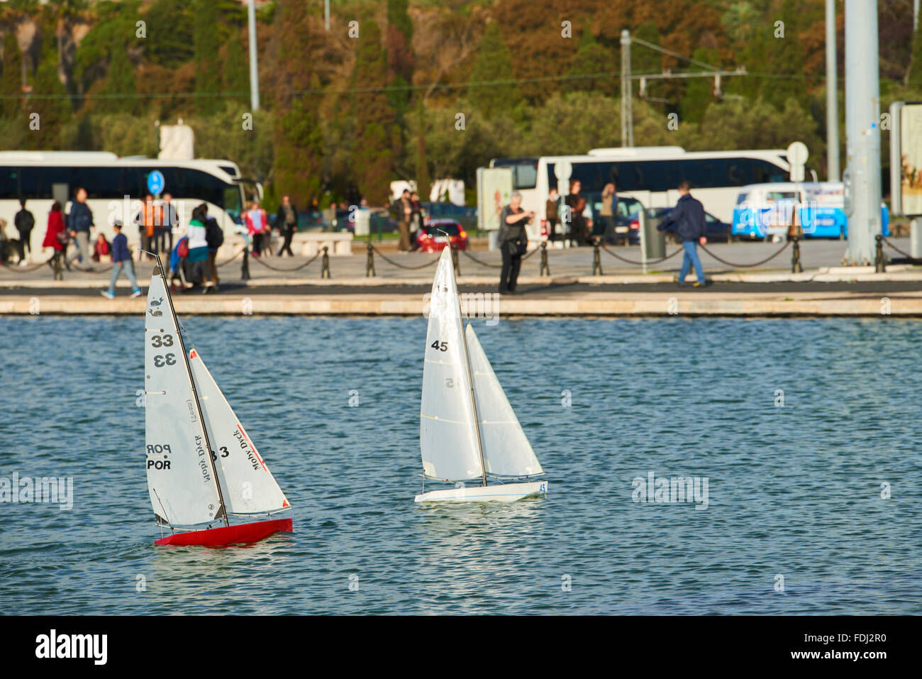 RC Sailboats in Belem, Lisbon, Portugal Stock Photo