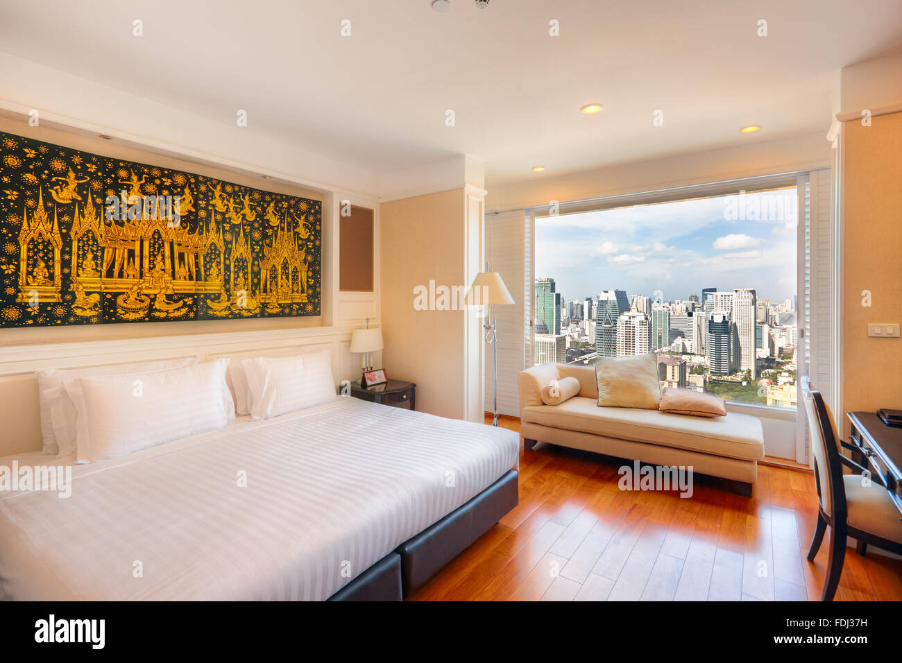 Room with panoramic city view in the Grande Centre Point Hotel Ratchadamri. Bangkok, Thailand. - Stock Image
