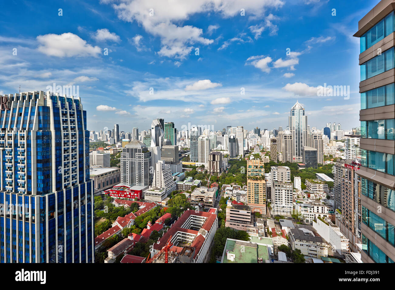 Elevated view of Lumphini Subdistrict. Pathum Wan District, Bangkok, Thailand. - Stock Image