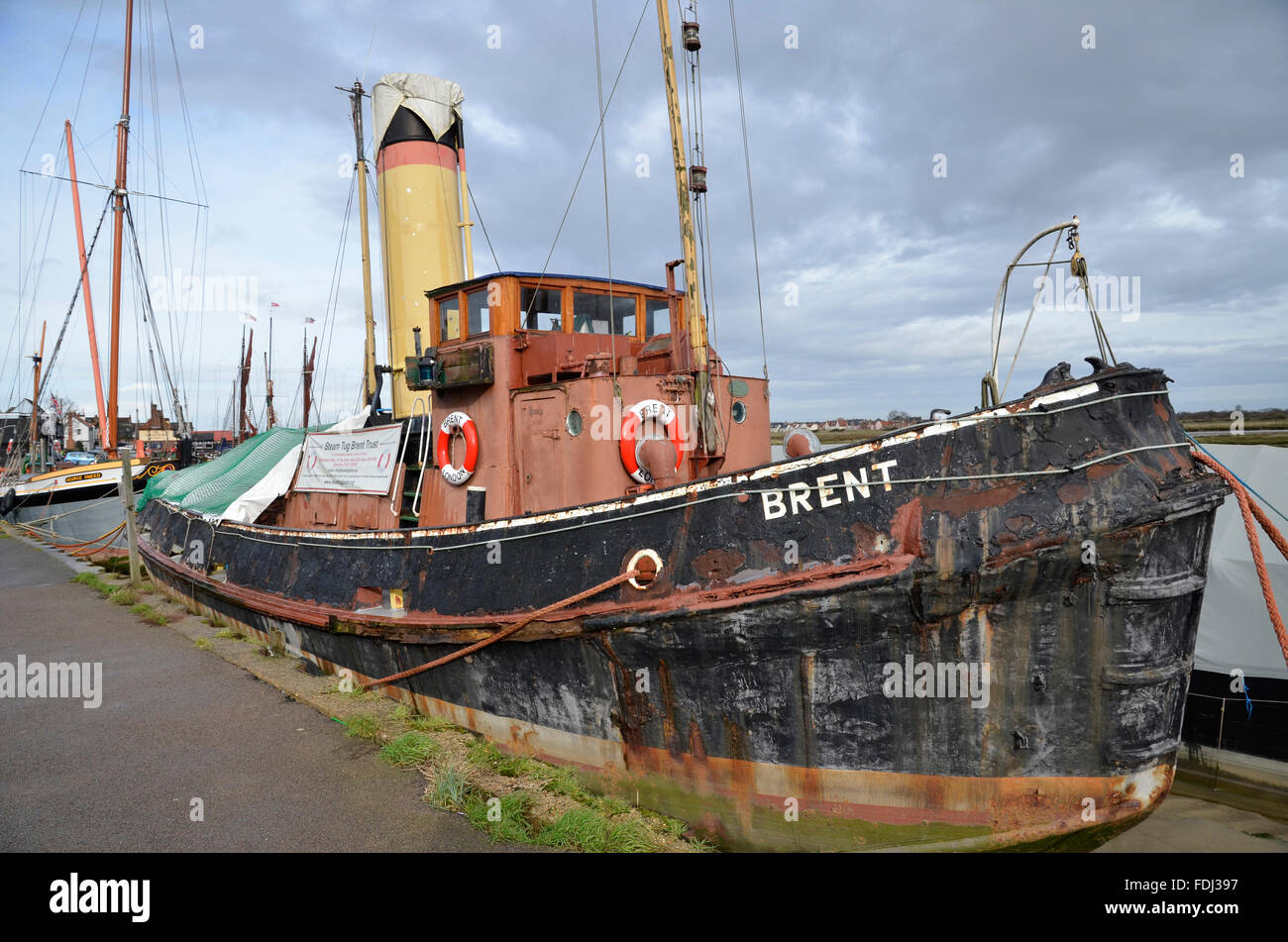 A restored tug boat on the River Blackwater in Maldon, Essex - Stock Image