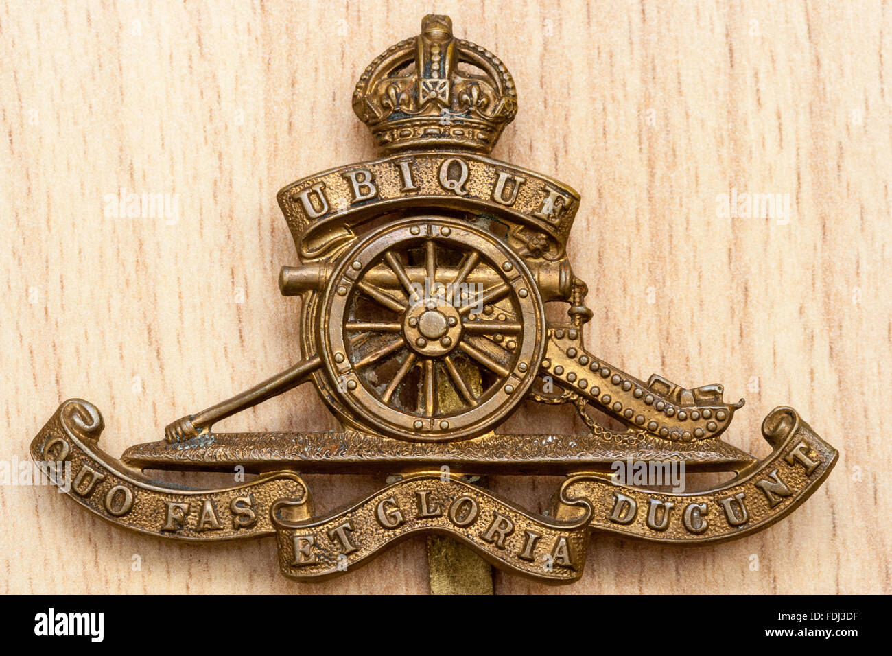 09407ff529a British army cap badge of the Royal Horse artillery on wood grain  background.