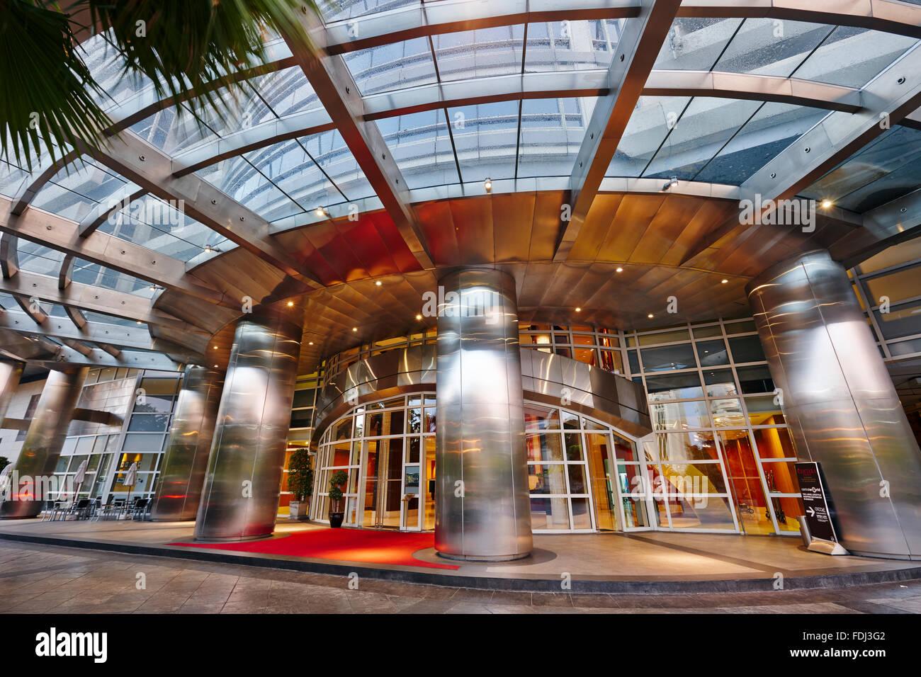 Entrance to the Centara Grand Hotel at CentralWorld Complex. Bangkok, Thailand. - Stock Image