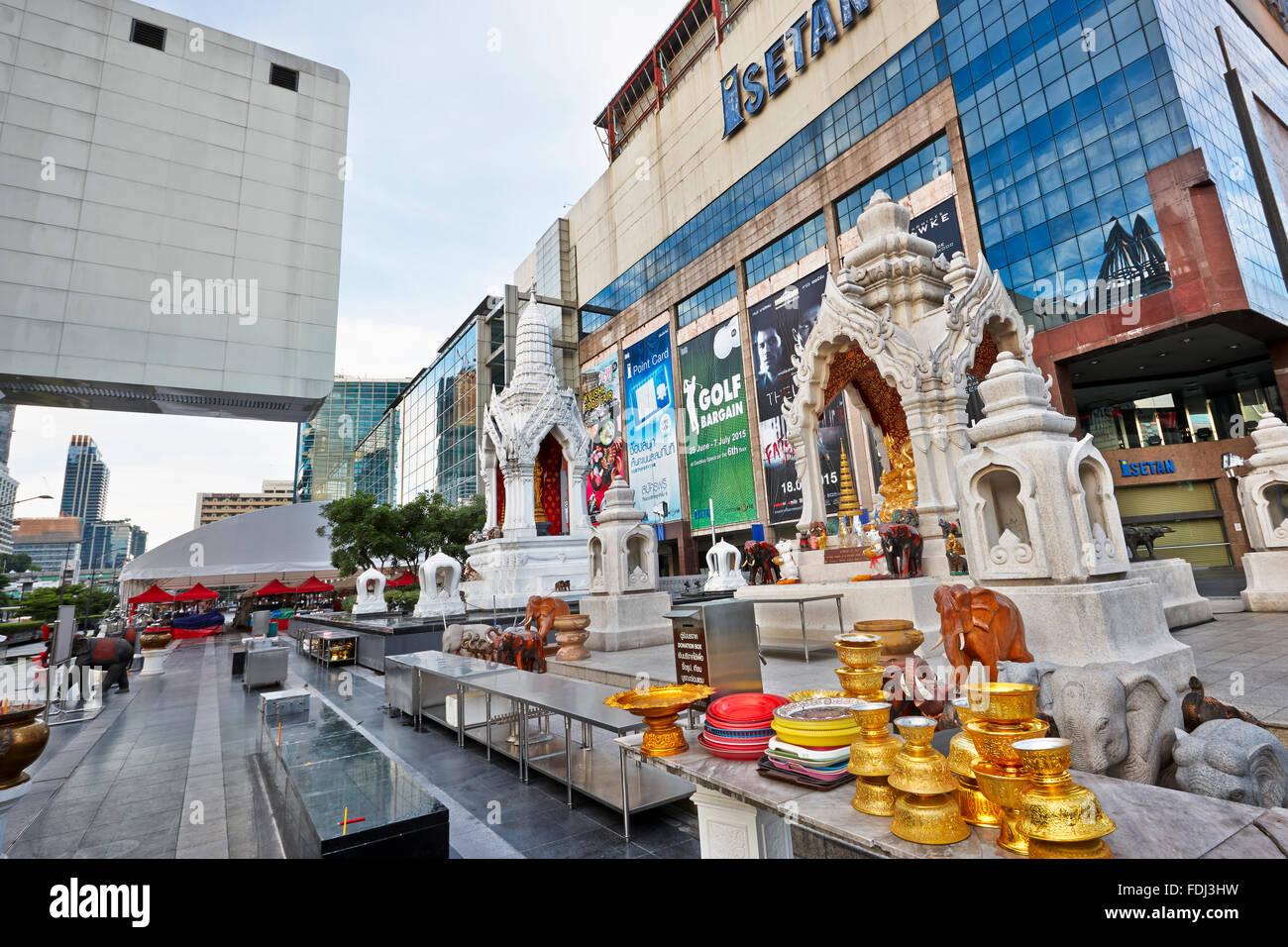 Ganesha Shrine near CentralWorld Shopping Complex. Bangkok, Thailand. - Stock Image
