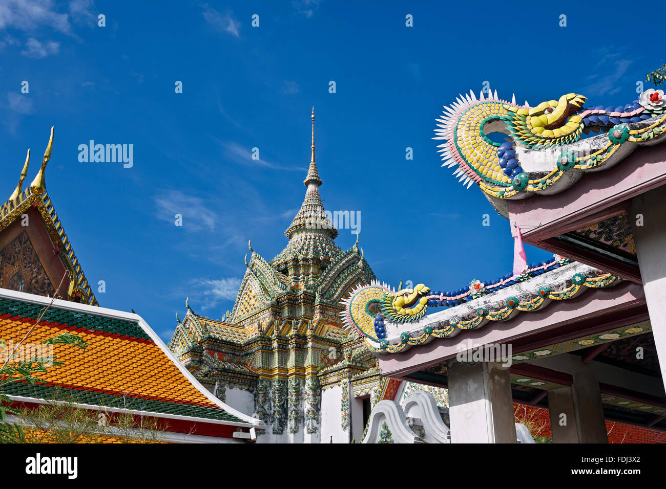 Fragment of Phra Mondob, The Scripture Hall. Wat Pho Temple, Bangkok, Thailand. Stock Photo