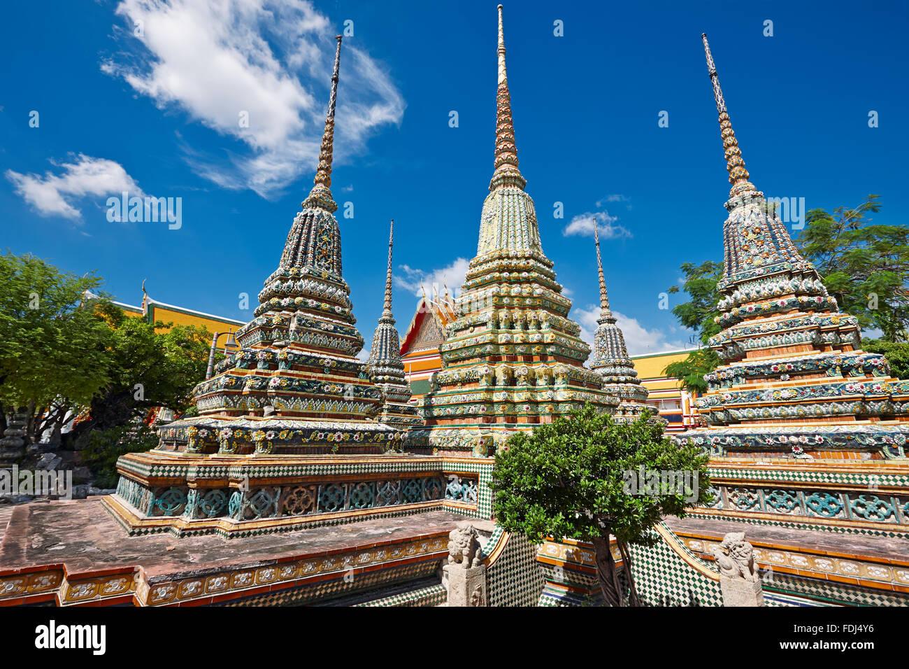 Pagodas of the Wat Pho Temple, Bangkok, Thailand. - Stock Image