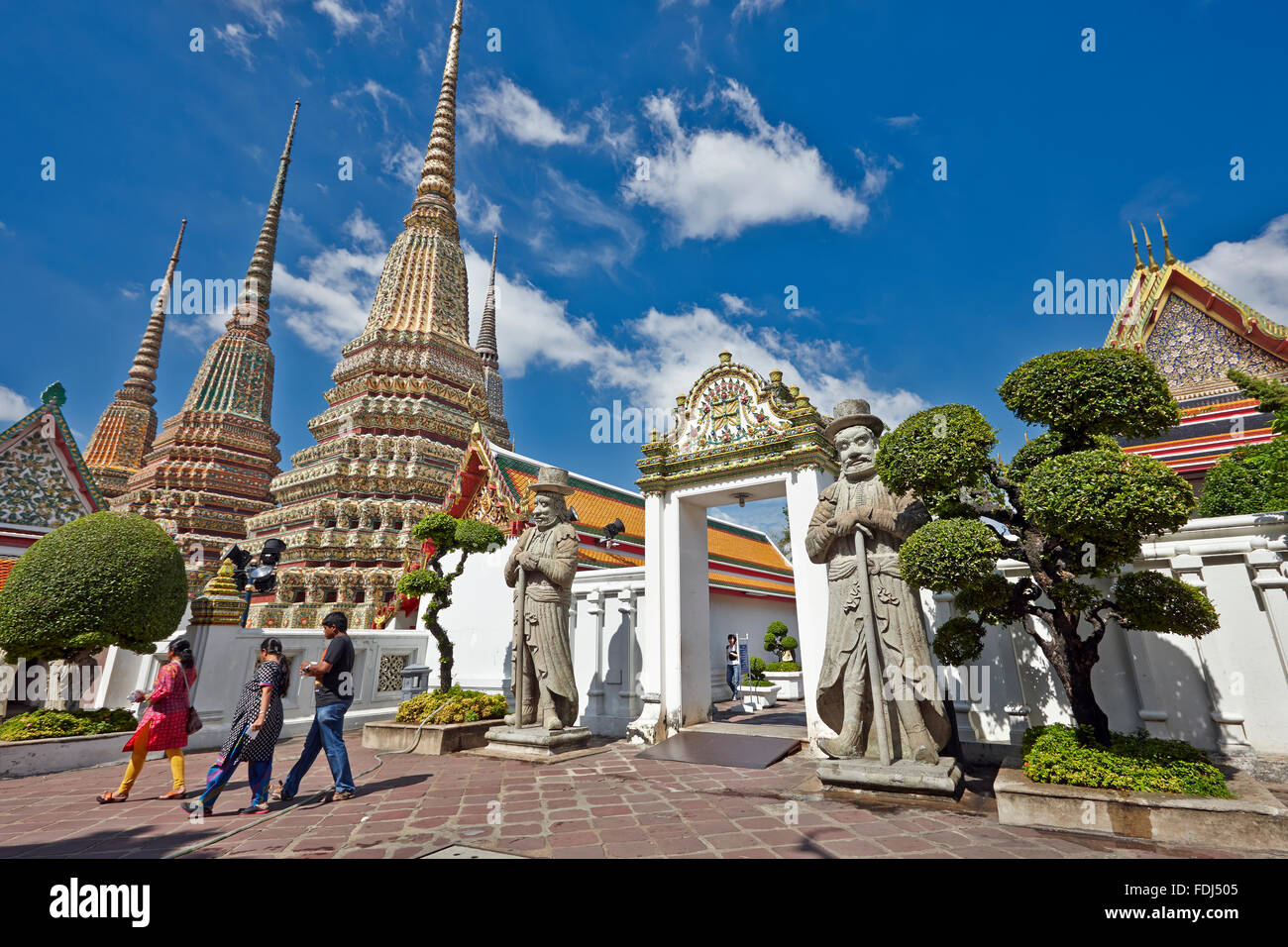 Phra Maha Chedi Si Rajakarn, The Great Pagodas of Four Kings. Wat Pho Temple, Bangkok, Thailand. - Stock Image