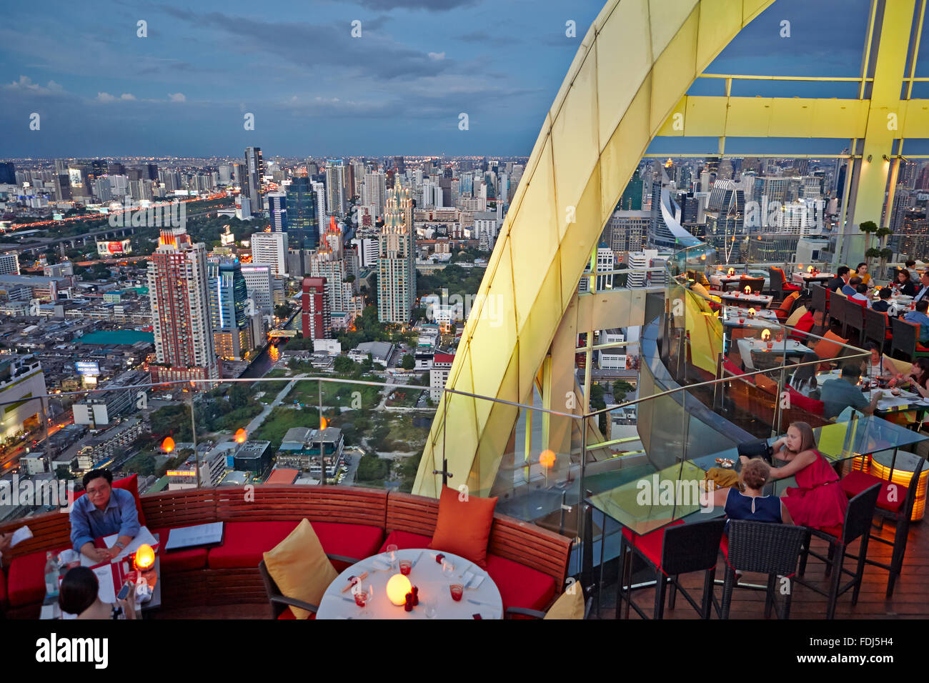 Elevated view from Red Sky Rooftop Bar. Centara Grand Hotel at CentralWorld Complex, Bangkok, Thailand. - Stock Image