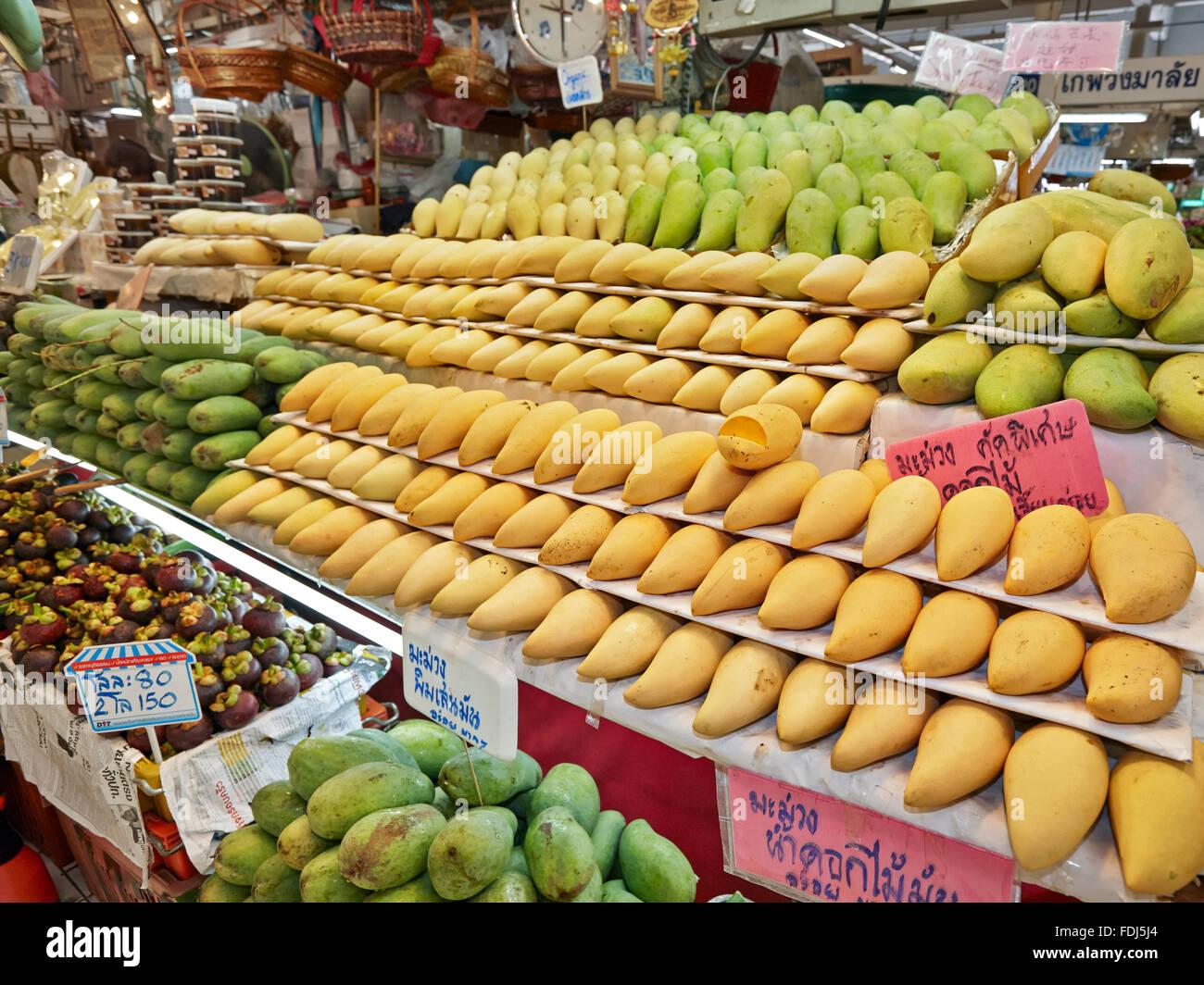 Fruit stall at Or Tor Kor (OTK) Fresh Market. Bangkok, Thailand. - Stock Image