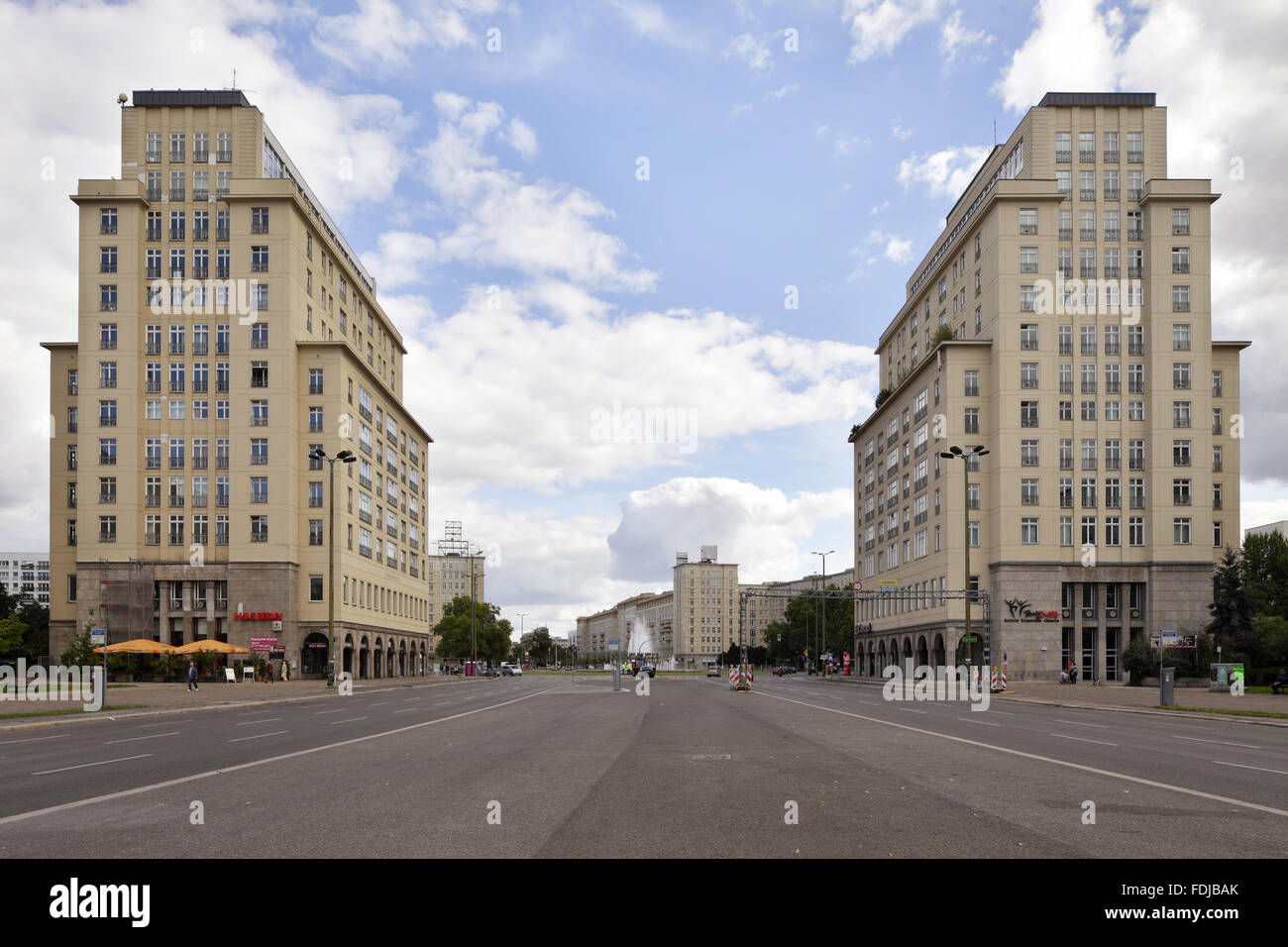 Berlin, Germany, gatehouses in the style of Stalinist architecture Stock Photo