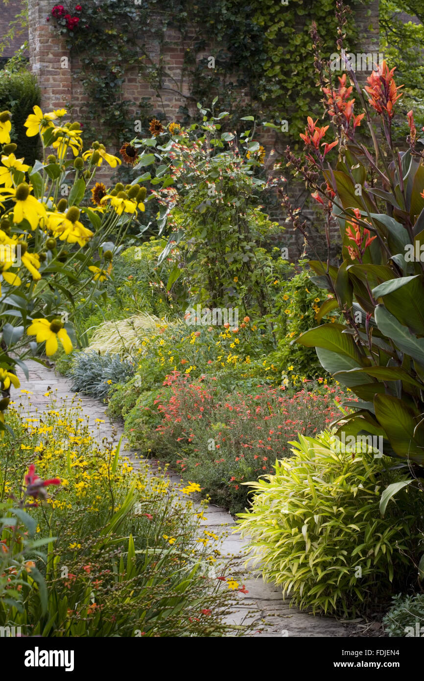 Awesome Red And Yellow Planting In Late August In The Cottage Garden Download Free Architecture Designs Ponolprimenicaraguapropertycom