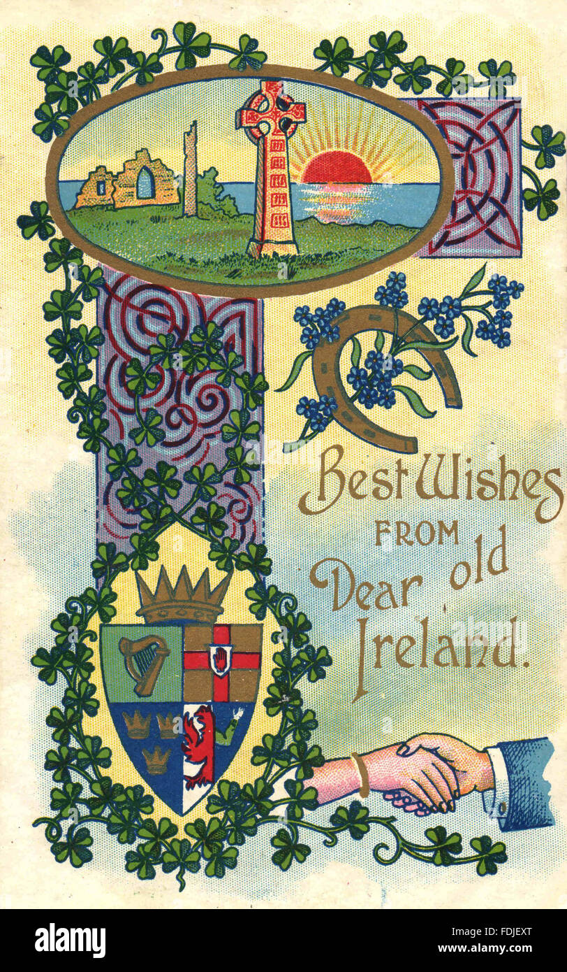Vintage St. Patrick's Day postcard - Best Wishes from Dear Old Ireland - Stock Image