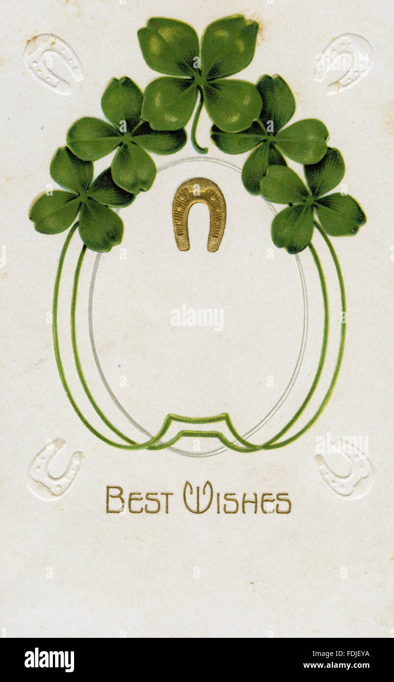 Vintage St. Patrick's Day postcard - Best Wishes for Luck - Stock Image