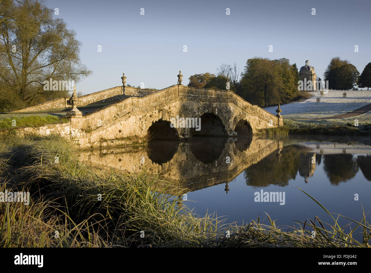 The Oxford Bridge on a frosty day at Stowe Landscape Gardens, Buckinghamshire. Stock Photo