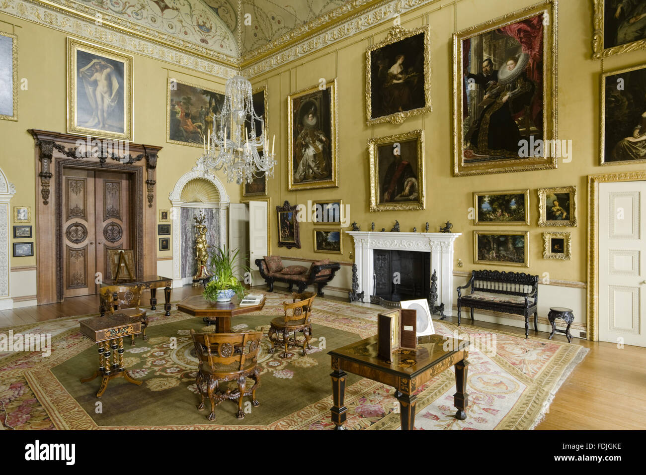 The Saloon at Kingston Lacy, Dorset. This room was originally the ...