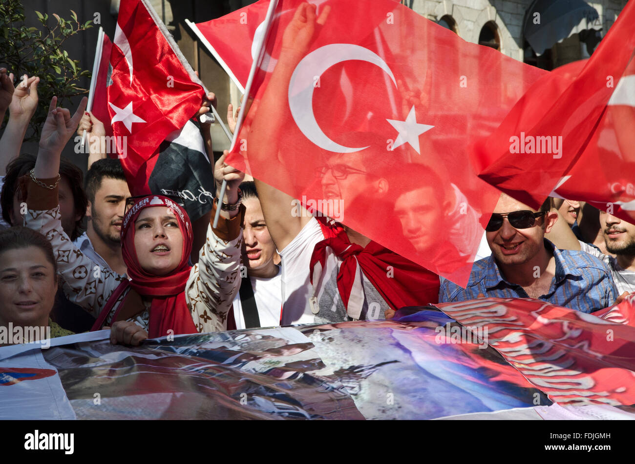 Ultra nationalist turks in istanbul protesting pkk in istanbul holding turkish flag - Stock Image