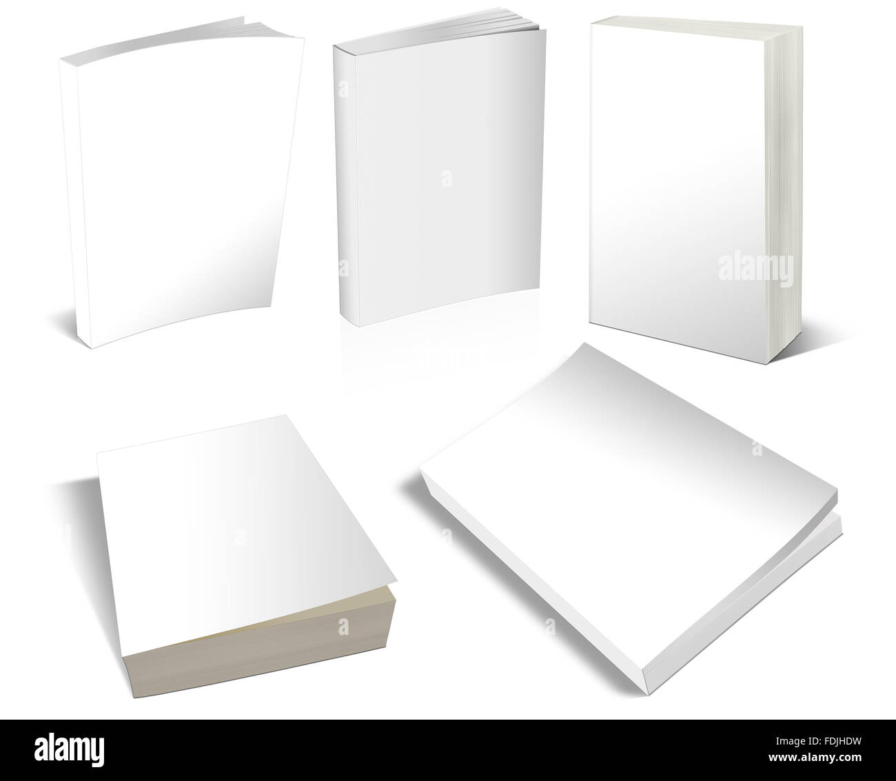 Blank Covers White Books 3-D - Stock Image
