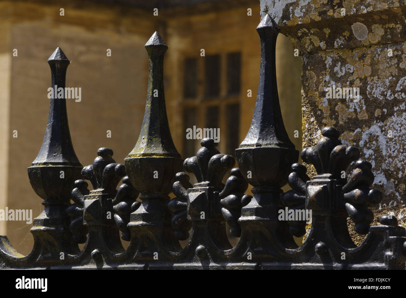 Close view of the metalwork on the gate at Montacute House, Somerset. - Stock Image