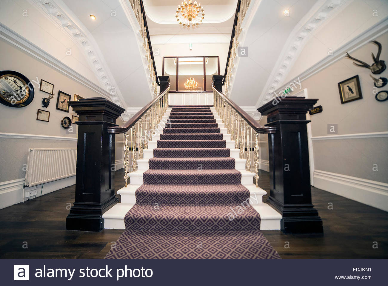 Grand Oak Lobby Staircase Wide Angle - Stock Image