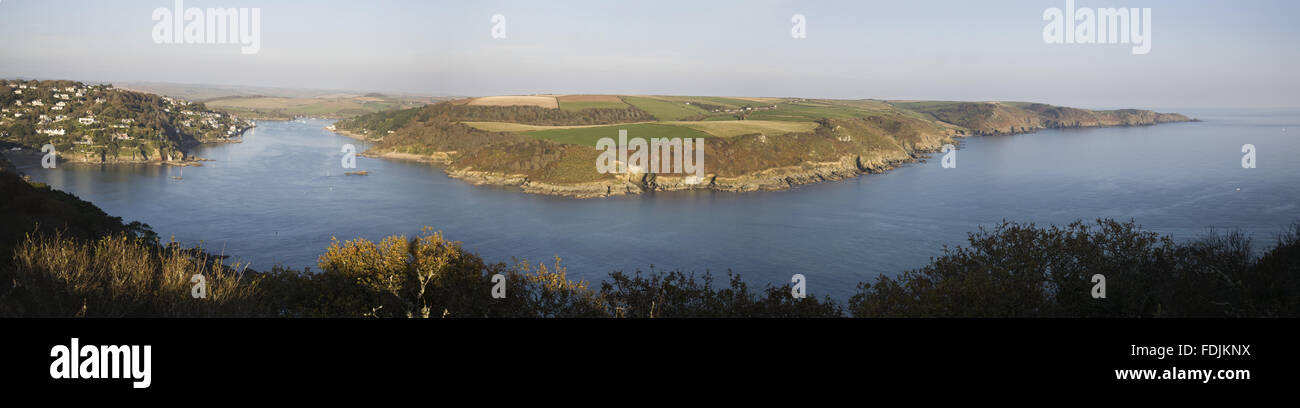 Panoramic view over the Salcombe estuary towards Rickham Common and Portlemouth Down  from the coastal path at Bolt Stock Photo