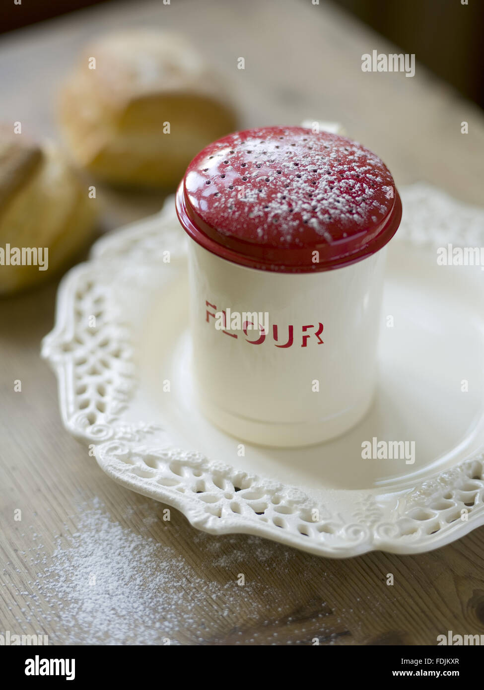 Retro-styled flour shaker. Product available in selected National Trust shops. - Stock Image