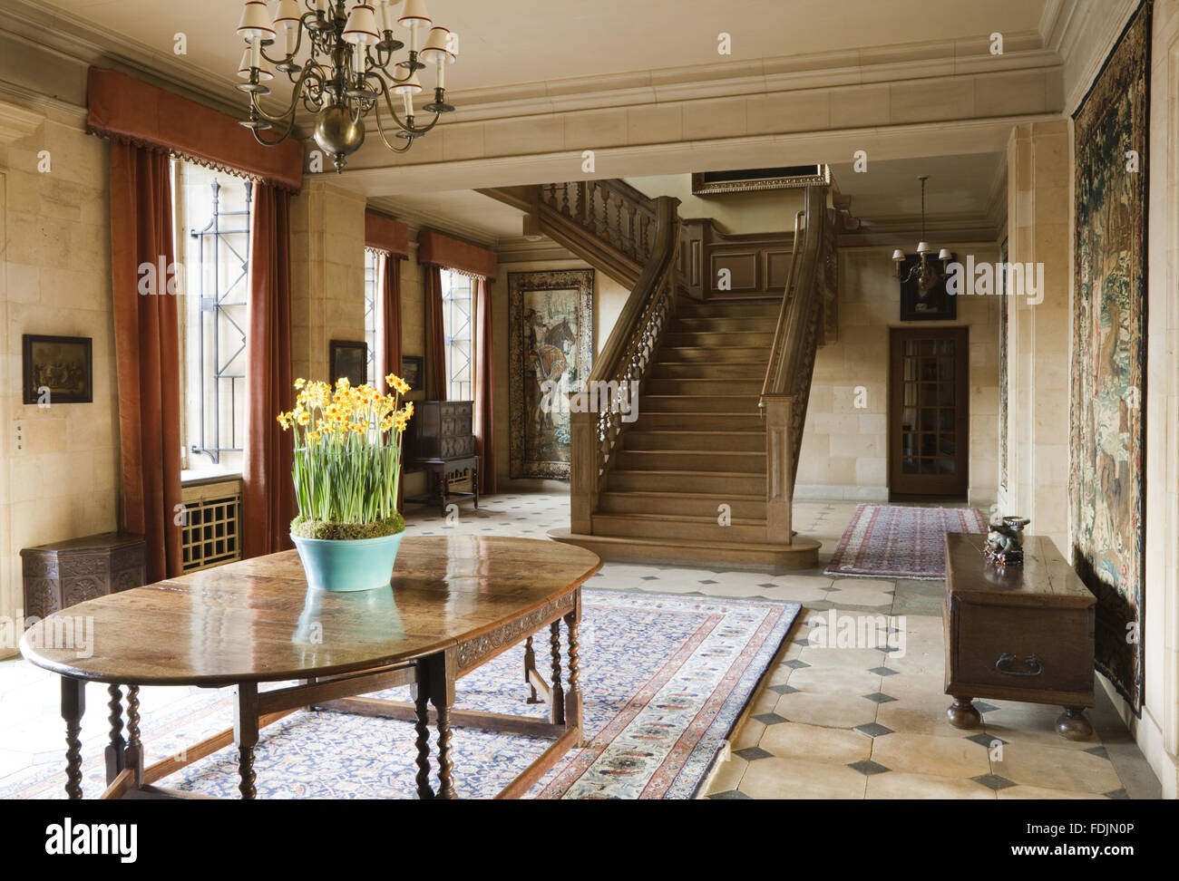 The Hall At Upton House, Warwickshire. The Interior Of The House Was  Remodelled In 1927 9 By The Architect Percy Morley Horder, When The  Staircase Was ...