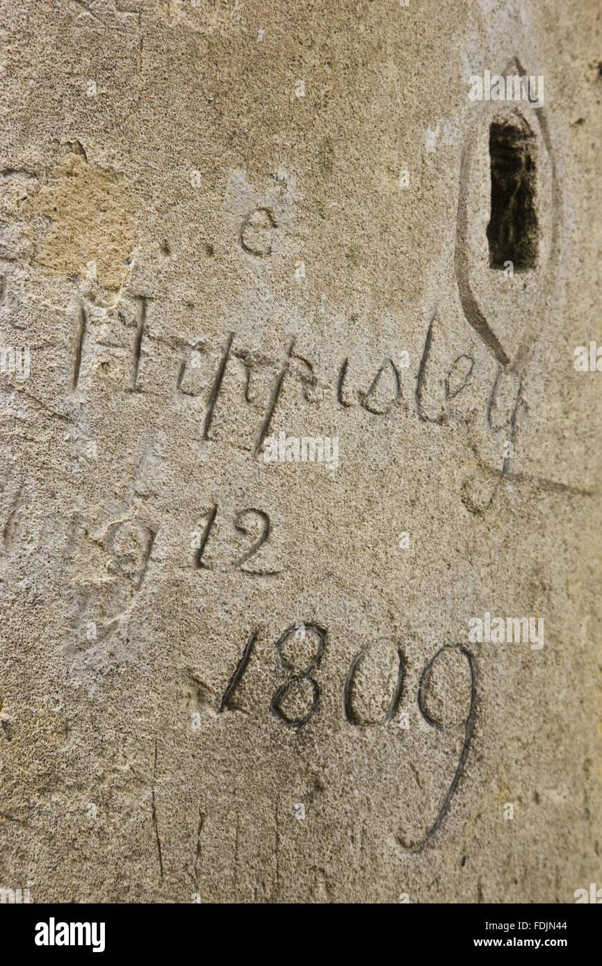 Graffiti dated 1809 on the Palladian Bridge at Prior Park Landscape Garden, Bath. - Stock Image