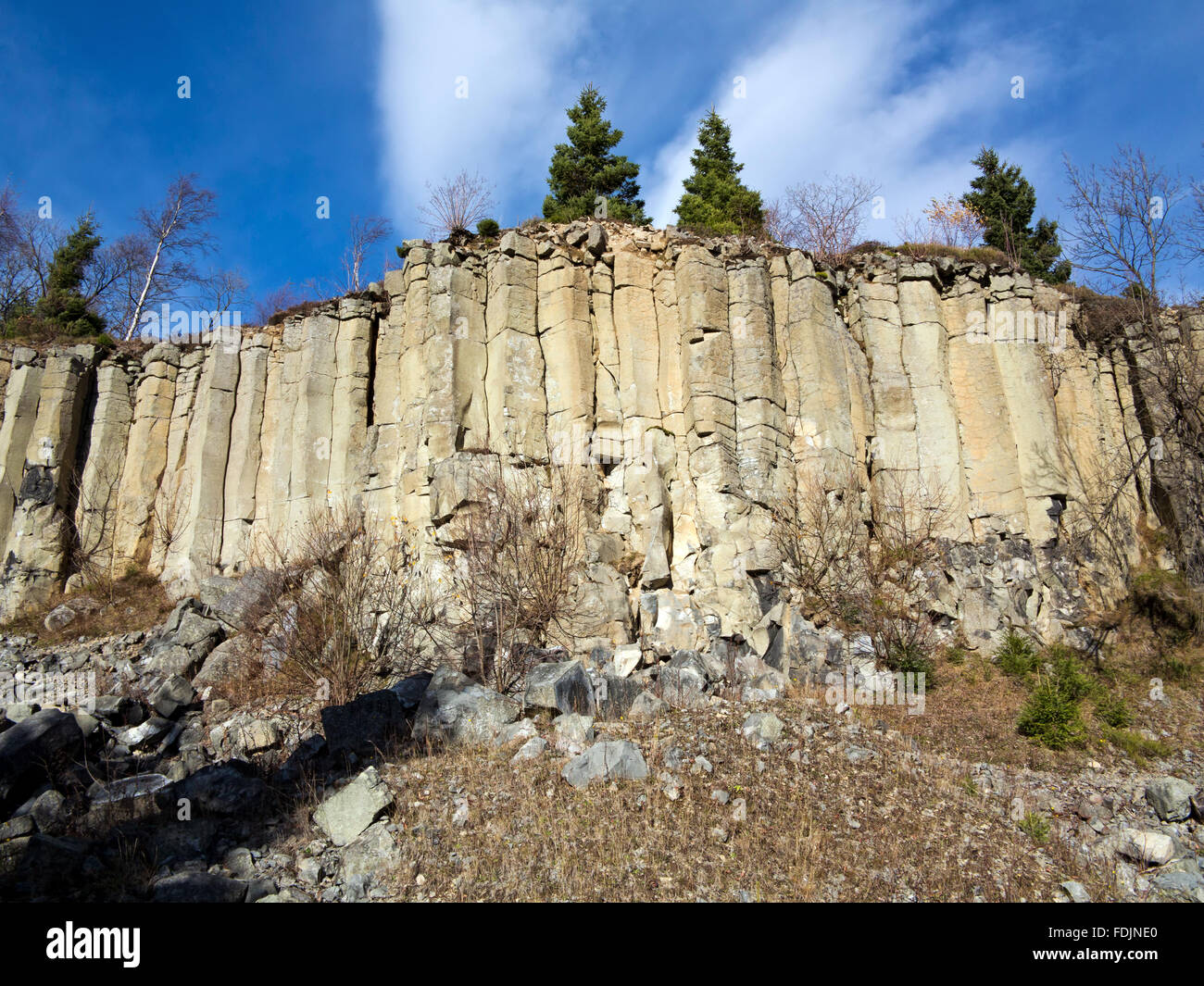 Old basalt quarry in The Ore Mountains - basalt columnar jointing - Stock Image