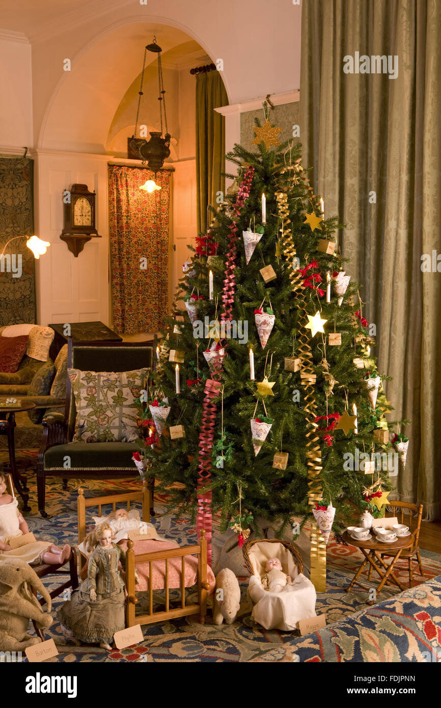 Traditional Victorian Christmas decorations on the tree in the Stock ...
