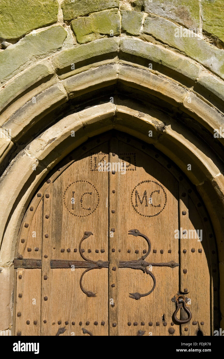 Detail of a seventeenth-century door within the thirteenth-century All Saints Church & Medieval Metalwork For Churches Stock Photos u0026 Medieval Metalwork ...