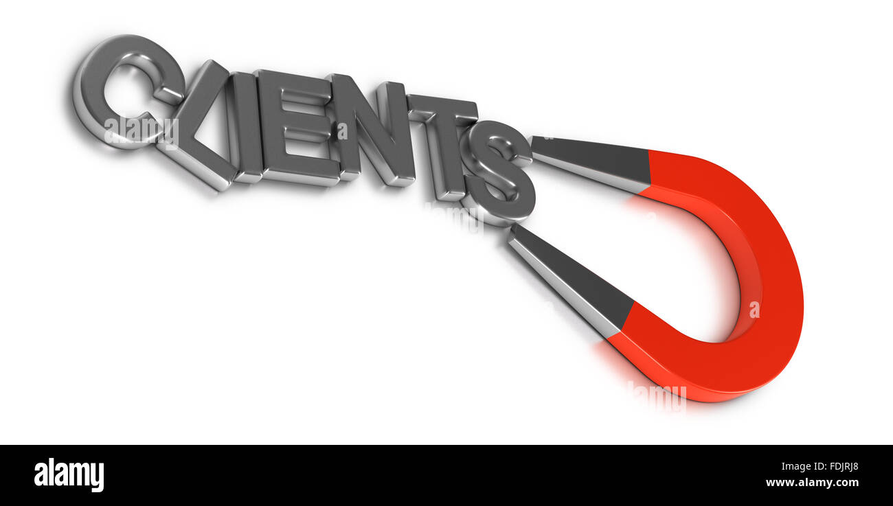 Client retention illustration concept, word clients attracted and retained by a magnet over white background - Stock Image