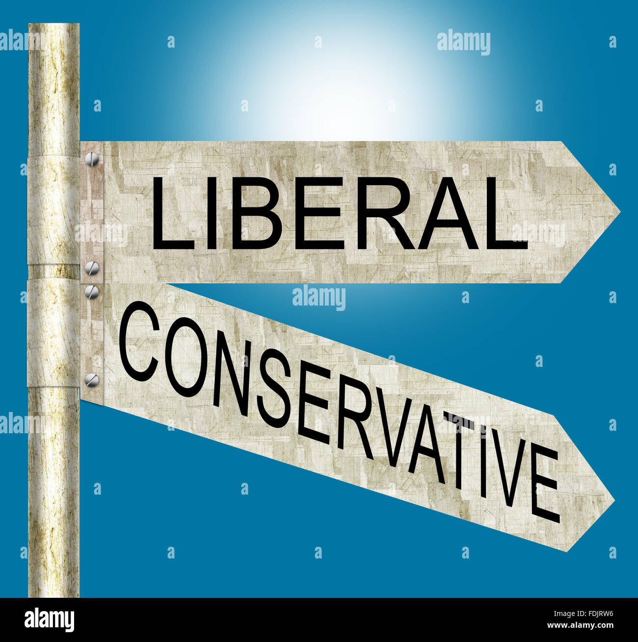 Liberal vs. Conservative Road Signs - Stock Image