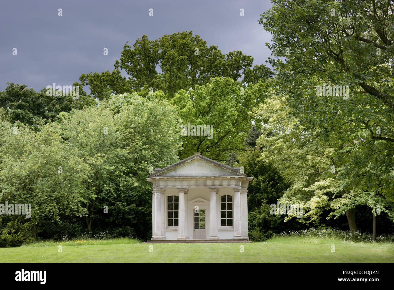 The Doric Temple, or Temple of Pan, in the park at Osterley, Middlesex. The Temple was built in the first half of - Stock Image