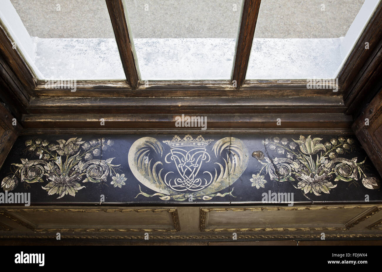 Scagliola window-sill, with the Lauderdale cipher and coronet, by Baldassare Artima in the Queen's Closet at Ham Stock Photo