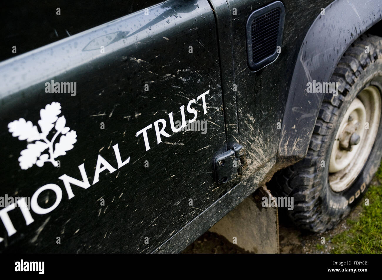 National Trust branded vehicle, used on a NTWorking Holiday, at Bosigran Farm, Cornwall. - Stock Image