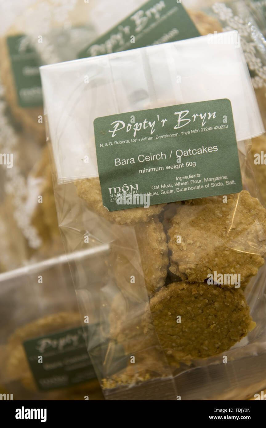 Oatcake biscuits on sale in the shop at Christmas at Chirk