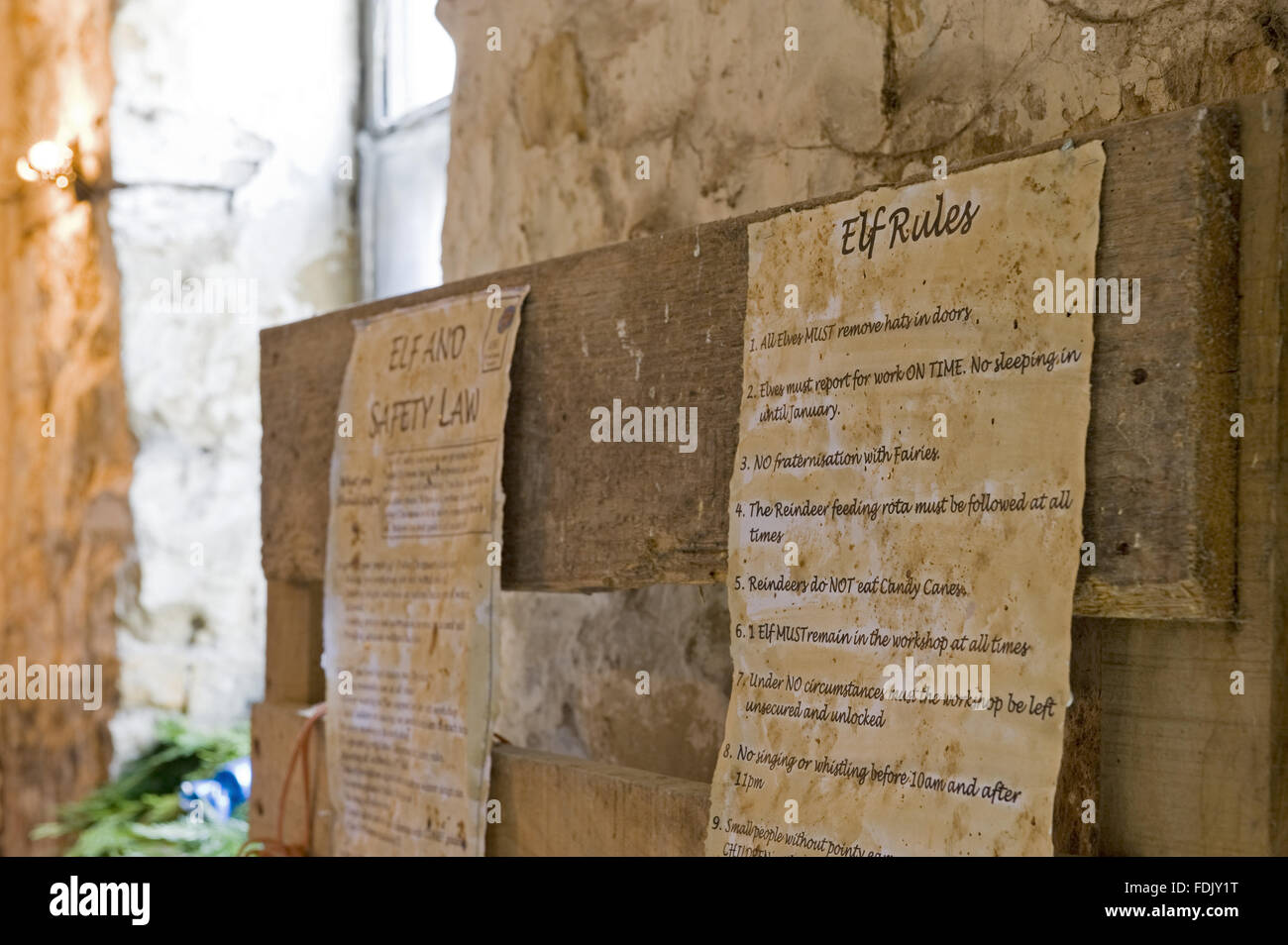 The rules for elves, pinned up at a Christmas event at Chirk Castle, Wrexham, Wales. - Stock Image
