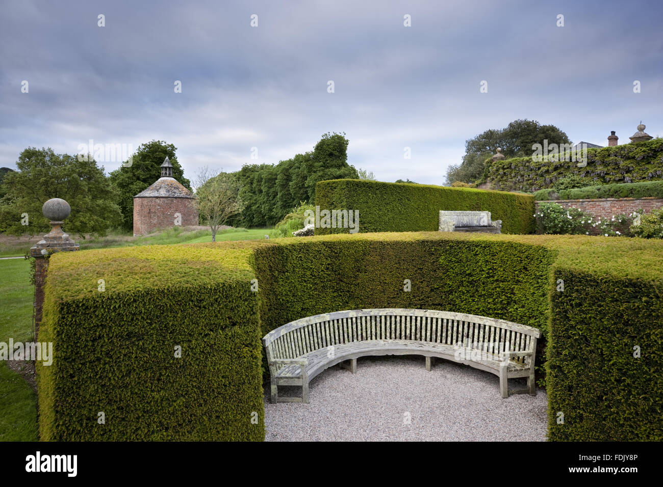 Curved bench enclosed by a hedge, near the Terrace Garden at Antony, Cornwall. The circular eighteenth-century dovecote - Stock Image