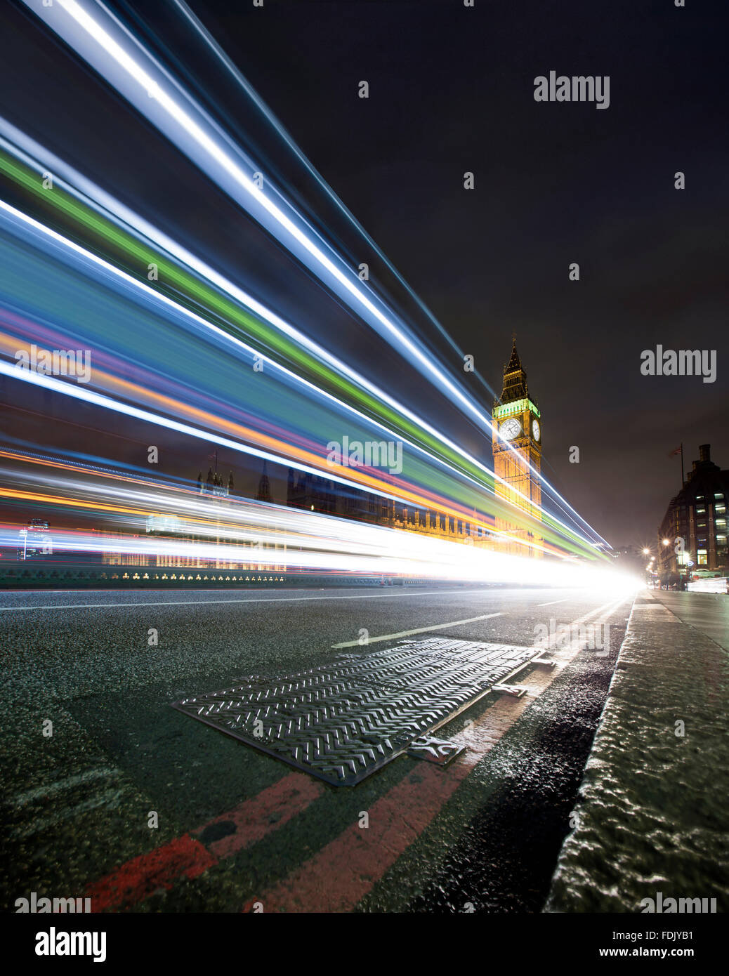 Light trails on Westminster Bridge at night, London, England, United Kingdom Stock Photo