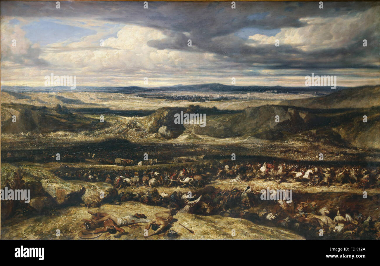 The Defeat of the Cimbri, circa 1833. By Alexandre-Gabriel Decamps (1803-1860). Roman general Gaius Marius defeat - Stock Image