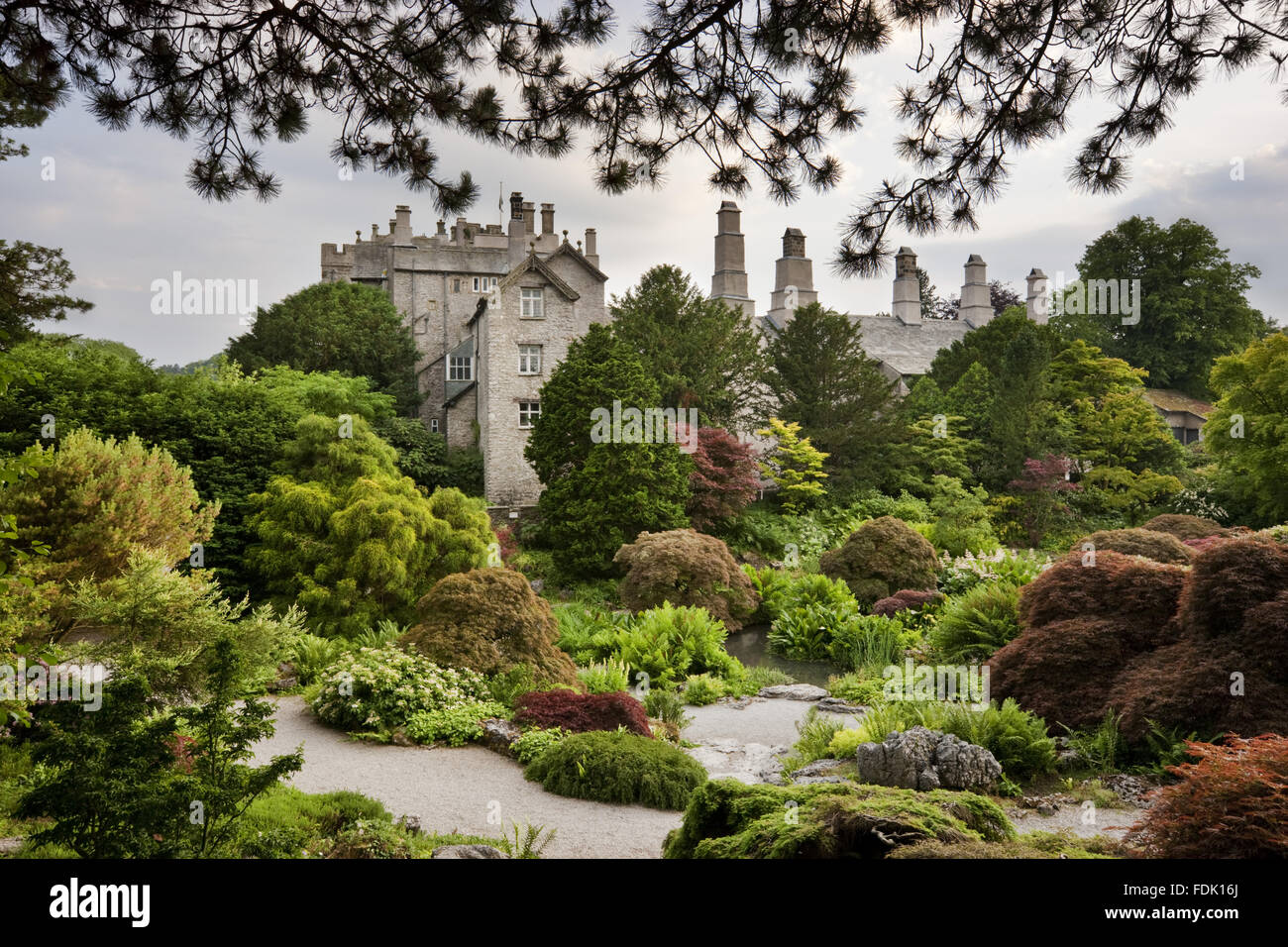 The Rock Garden in June at Sizergh Castle, near Kendal, Cumbria. The Rock garden covers almost an acre and is closely - Stock Image